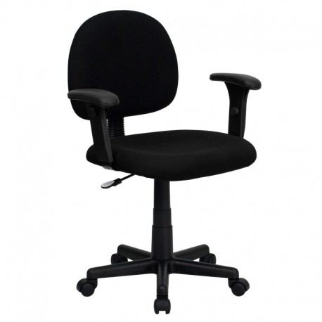 MFO Mid-Back Ergonomic Black Fabric Task Chair with Adjustable Arms