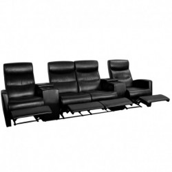MFO Lux Collection 4-Seat Reclining Black Leather Theater Seating Unit with Cup Holders