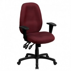MFO High Back Burgundy Fabric Multi-Functional Ergonomic Task Chair with Arms