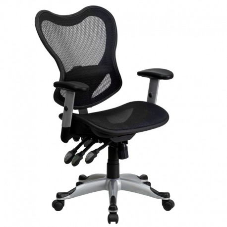 MFO Mid-Back Black Mesh Chair with Triple Paddle Control