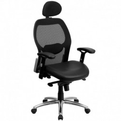 MFO High Back Super Mesh Office Chair with Black Leather Seat and Knee Tilt Control