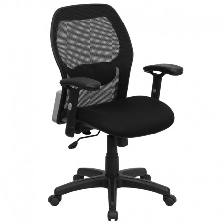 MFO Mid-Back Super Mesh Office Chair with Black Fabric Seat
