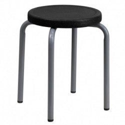 MFO Stackable Stool with Black Seat and Silver Powder Coated Frame