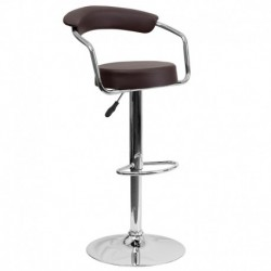MFO Contemporary Brown Vinyl Adjustable Height Bar Stool with Arms and Chrome Base