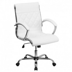 MFO Mid-Back Designer White Leather Executive Office Chair with Chrome Base