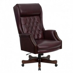 MFO High Back Traditional Tufted Burgundy Leather Executive Office Chair