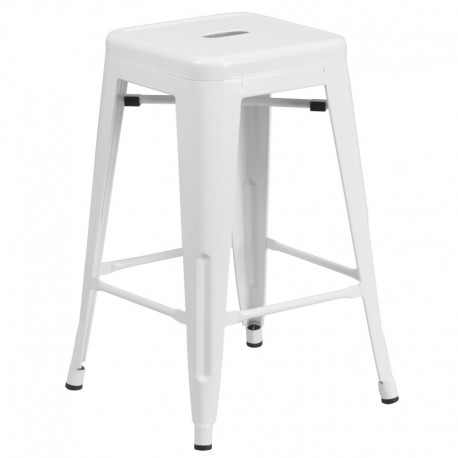 MFO 24'' Backless White Metal Counter Height Stool