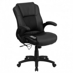 MFO Massaging Black Leather Executive Office Chair