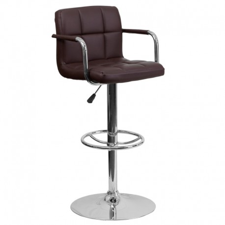 MFO Contemporary Brown Quilted Vinyl Adjustable Height Bar Stool with Arms and Chrome Base