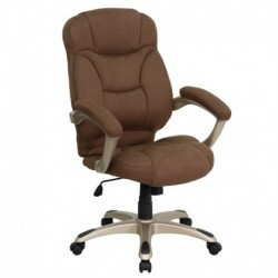 MFO High Back Brown Microfiber Upholstered Contemporary Office Chair