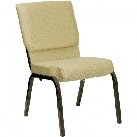 MFO 18.5''W Beige Patterned Fabric Stacking Church Chair with 4.25'' Thick Seat - Gold Vein Frame
