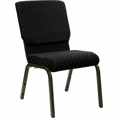 MFO 18.5''W Black Dot Patterned Fabric Stacking Church Chair with 4.25'' Thick Seat - Gold Vein Frame