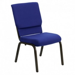 MFO 18.5'' Wide Navy Blue Fabric Stacking Church Chair with 4.25'' Thick Seat - Gold Vein Frame