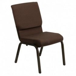 MFO 18.5''W Brown Fabric Stacking Church Chair with 4.25'' Thick Seat - Gold Vein Frame