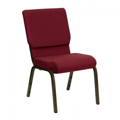 MFO 18.5''W Burgundy Fabric Stacking Church Chair with 4.25'' Thick Seat - Gold Vein Frame