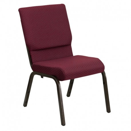 MFO 18.5''W Burgundy Patterned Fabric Stacking Church Chair with 4.25'' Thick Seat - Gold Vein Frame