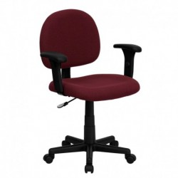 MFO Mid-Back Ergonomic Burgundy Fabric Task Chair with Adjustable Arms