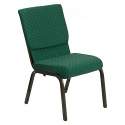 MFO 18.5''W Green Patterned Fabric Stacking Church Chair with 4.25'' Thick Seat - Gold Vein Frame