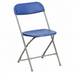 MFO 440 lb. Capacity Premium Blue Plastic Folding Chair
