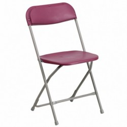 MFO 440 lb. Capacity Premium Burgundy Plastic Folding Chair