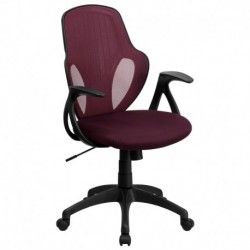 MFO Mid-Back Executive Burgundy Mesh Chair with Nylon Base
