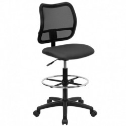 MFO Mid-Back Mesh Drafting Stool with Gray Fabric Seat