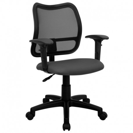 MFO Mid-Back Mesh Task Chair with Gray Fabric Seat and Arms