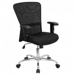 MFO Mid-Back Black Mesh Contemporary Computer Chair with Adjustable Arms and Chrome Base