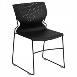 MFO 661 lb. Capacity Black Full Back Stack Chair with Black Frame