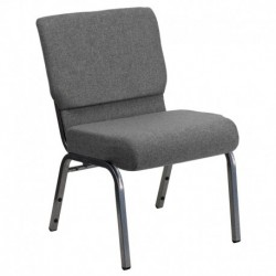 MFO 21'' Extra Wide Gray Stacking Church Chair with 3.75'' Thick Seat - Silver Vein Frame