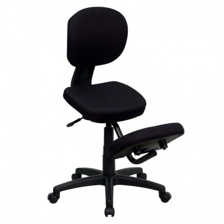 MFO Mobile Ergonomic Kneeling Posture Task Chair in Black Fabric with Back