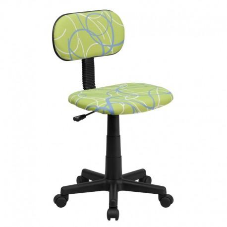 MFO Blue & White Swirl Printed Green Computer Chair
