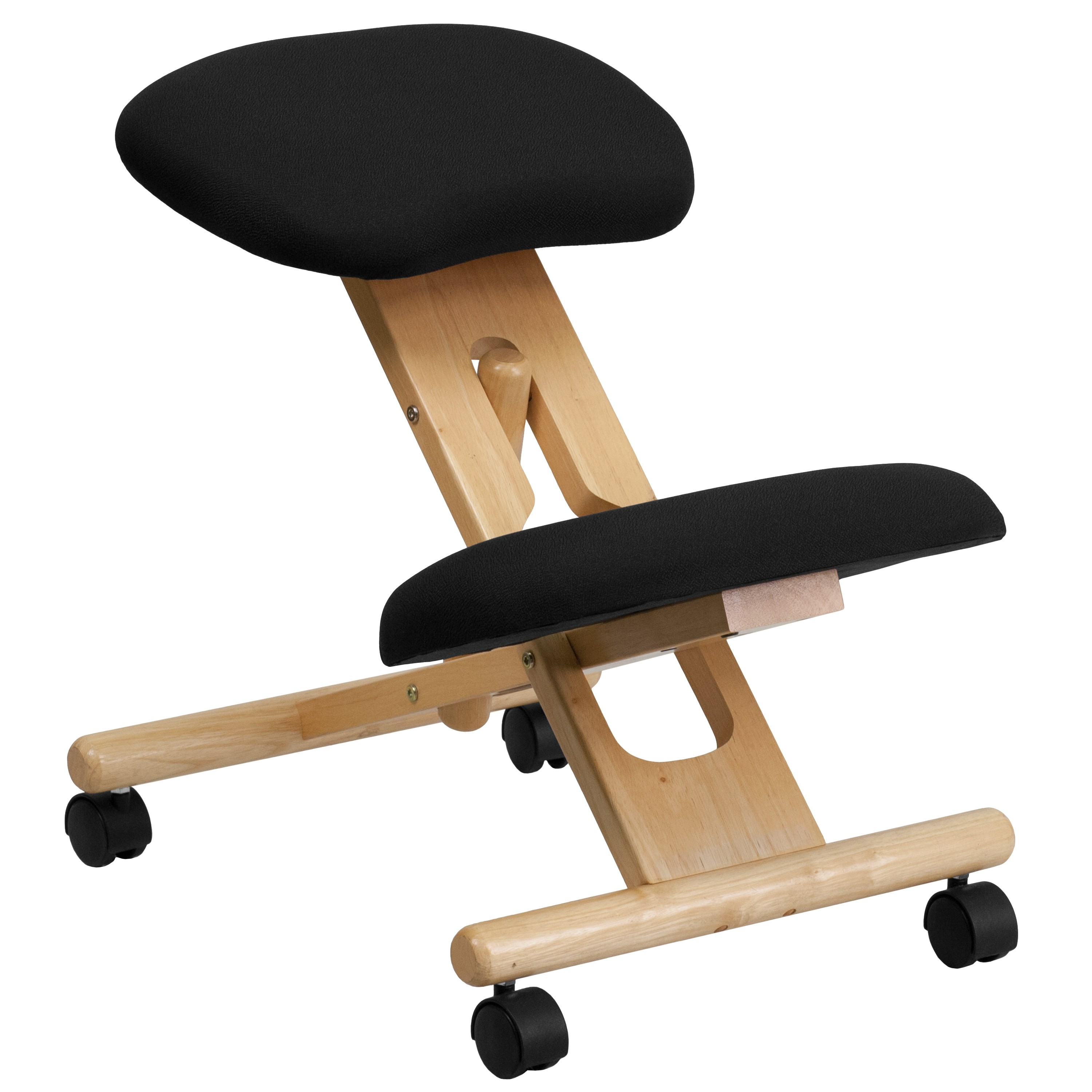 MFO Mobile Wooden Ergonomic Kneeling Chair in Black Fabric