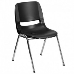 MFO 661 lb. Capacity Black Ergonomic Shell Stack Chair with Chrome Frame and 16'' Seat Height