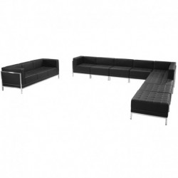 MFO Immaculate Collection Black Leather Sectional & Sofa Set, 10 Pieces