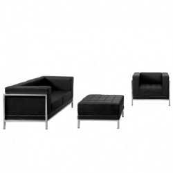 MFO Immaculate Collection Black Leather Loveseat, Chair & Ottoman Set