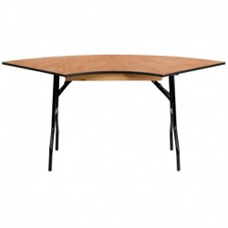 MFO 5.5 ft. x 2.5 ft. Serpentine Wood Folding Banquet Table