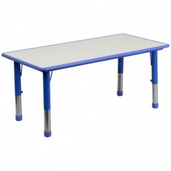 MFO 23.625''W x 47.25''L Height Adjustable Rectangular Blue Plastic Activity Table with Grey Top