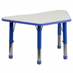 MFO 21''W x 37.75''L Height Adjustable Trapezoid Blue Plastic Activity Table with Grey Top