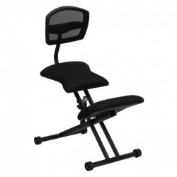 MFO Ergonomic Kneeling Chair with Black Mesh Back and Fabric Seat