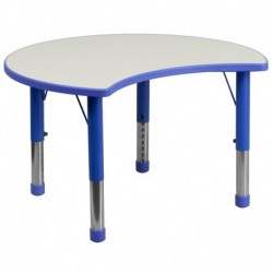 MFO 25.125''W x 35.5''L Height Adjustable Cutout Circle Blue Plastic Activity Table with Grey Top
