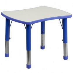 MFO 21.875''W x 26.625''L Height Adjustable Rectangular Blue Plastic Activity Table with Grey Top