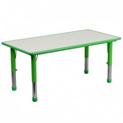 MFO 23.625''W x 47.25''L Height Adjustable Rectangular Green Plastic Activity Table with Grey Top