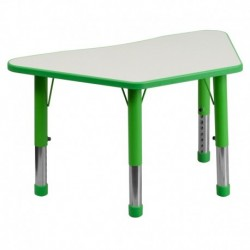 MFO 21''W x 37.75''L Height Adjustable Trapezoid Green Plastic Activity Table with Grey Top