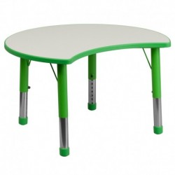 MFO 25.125''W x 35.5''L Height Adjustable Cutout Circle Green Plastic Activity Table with Grey Top