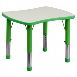 MFO 21.875''W x 26.625''L Height Adjustable Rectangular Green Plastic Activity Table with Grey Top