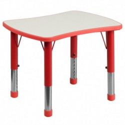 MFO 21.875''W x 26.625''L Height Adjustable Rectangular Red Plastic Activity Table with Grey Top