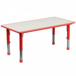 MFO 23.625''W x 47.25''L Height Adjustable Rectangular Red Plastic Activity Table with Grey Top
