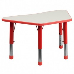 MFO 21''W x 37.75''L Height Adjustable Trapezoid Red Plastic Activity Table with Grey Top