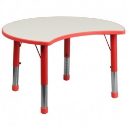 MFO 25.125''W x 35.5''L Height Adjustable Cutout Circle Red Plastic Activity Table with Grey Top